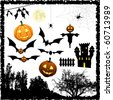 Halloween vector elements - stock photo