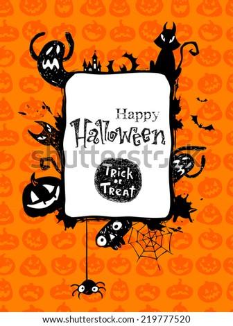 Halloween vector frame.  - stock vector