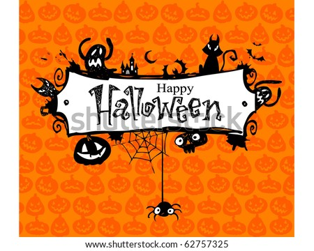 Halloween vector frame. - stock vector