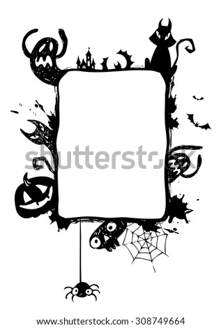 Halloween vector frame with silhouettes of bats, cat, jack o lantern - stock vector