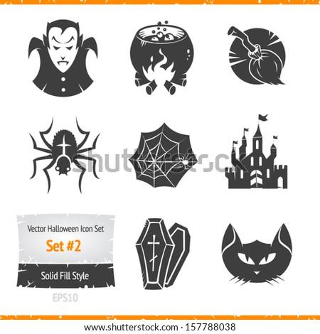 Halloween vector icon set - stock vector