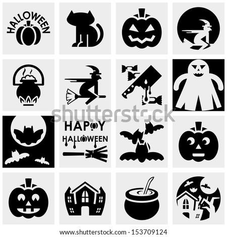 Halloween vector icons set on gray.agro - stock vector
