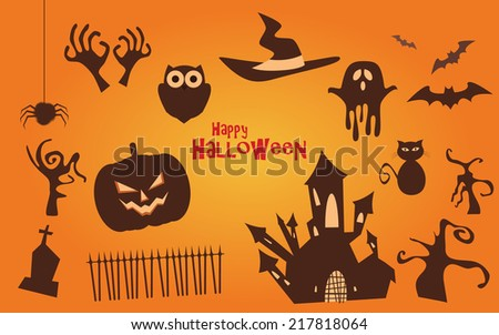 Halloween vector icons set, scary collection - stock vector