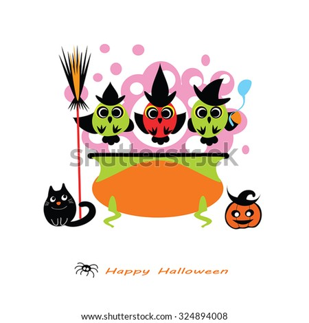 Halloween vector illustration -  cute Owl Witches cooking potion in cauldron. Witch cauldron, Owls, witch hat, cat, pumpkin, broom. Cute Halloween card - flat silhouettes. Eps 10. Isolated on white. - stock vector