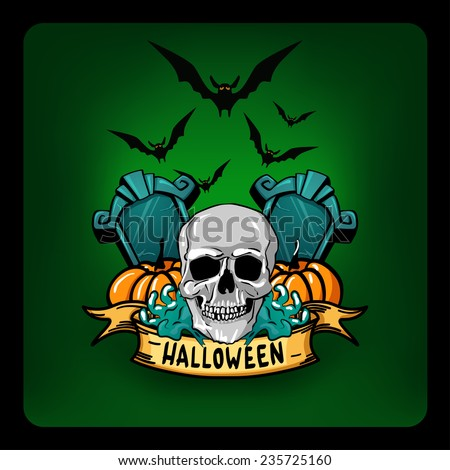 Halloween vector illustration poster - stock vector
