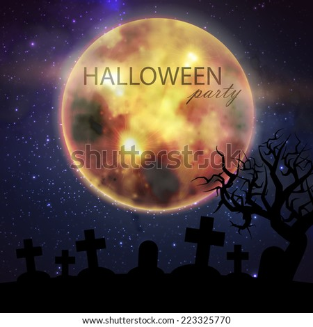 Halloween vector illustration with full moon and cemetery on the night sky background. party flyer design - stock vector