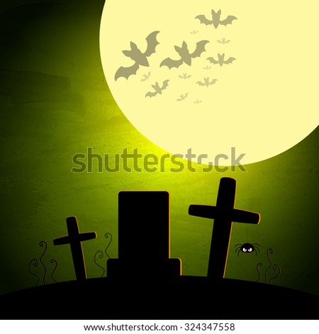 Halloween vector illustration with moon and dark landscape. EPS10 - stock vector