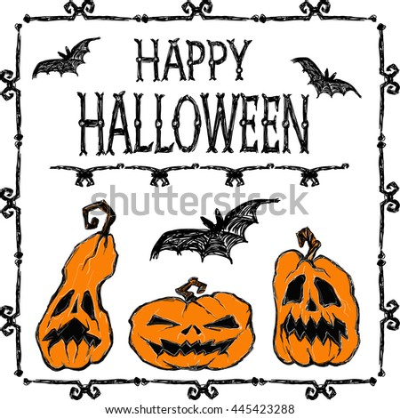 Halloween vector poster. Bats fly, pumpkins,  creepy frame and letters. Drawing and lettering is handmade are made with black ink on white background. This useful to cards,  invitations. - stock vector