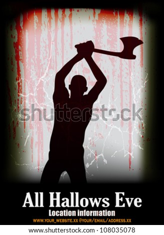 Halloween Vector Poster, with a ghostly axe man at a blood drenched window - stock vector