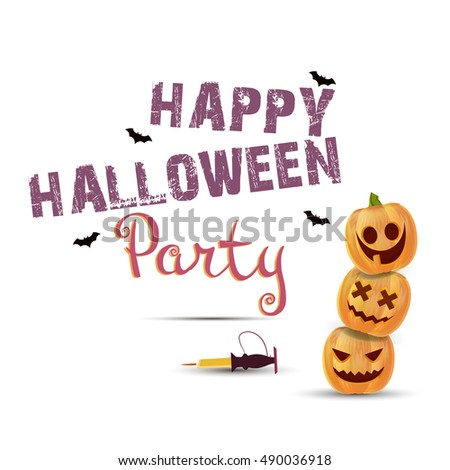 Halloween vector poster with pumpkins, candle, text decor. Happy holiday party flayer illustration.