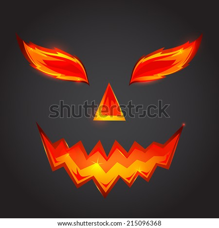 Halloween vector pumpkin scary face  - stock vector