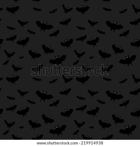 halloween vector seamless abstract dark background with bat - stock vector