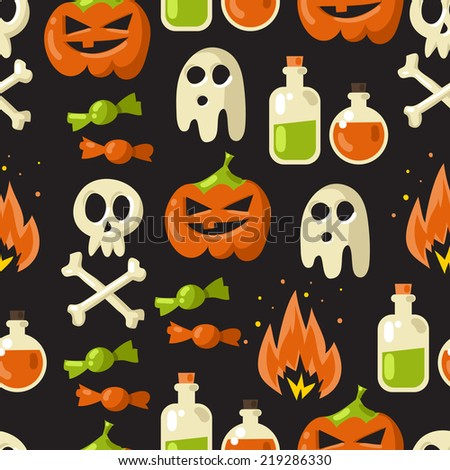 Halloween vector seamless pattern background illustration on dark background with pumpkin, ghost, skull, bones  and sweets  - stock vector
