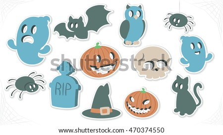 Halloween Vector Symbol Sticker Collection