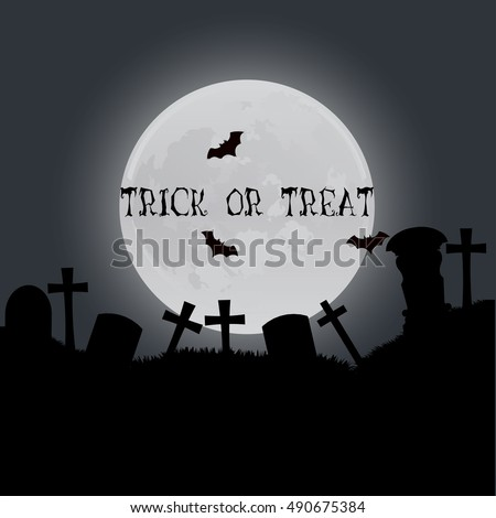 Halloween vector vertical background with crosses, night and full moon. Flyer or invitation template for happy party illustration