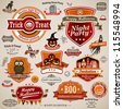 Halloween vintage set - labels, ribbons and other decorative elements. Vector illustration. - stock vector