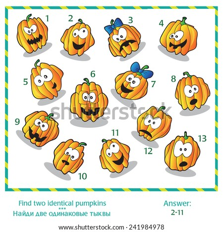 Halloween visual puzzle - Find two identical images of pumpkins. Answer included. - stock vector