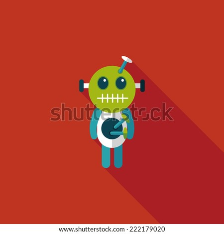Halloween voodoo doll flat icon with long shadow,eps10 - stock vector
