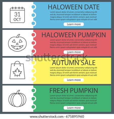 halloween web banner templates set october stock vector 675895960