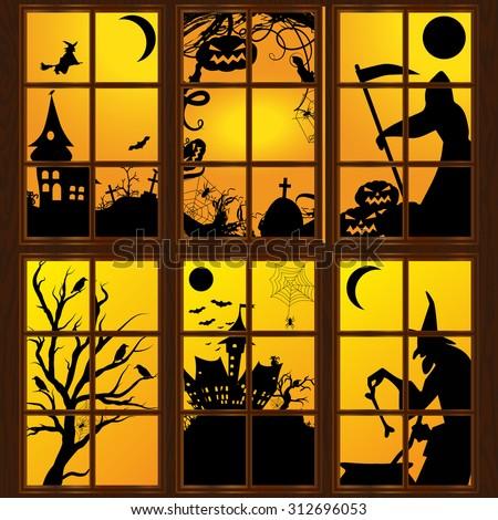 halloween windows in house vector art - Halloween Window