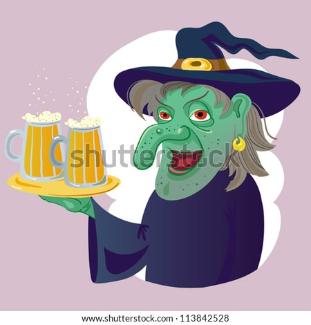 Halloween Witch And Beer.
