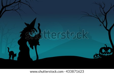 Halloween witch and cat with blue backgrounds very scary