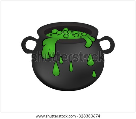 Halloween Witch cauldron with green potion, bubbling witches brew. Realistic Vector illustration isolated on white background.