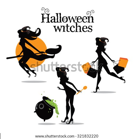 Halloween witch collection. EPS 10 vector illustration for advertising, marketing, web page,  - stock vector