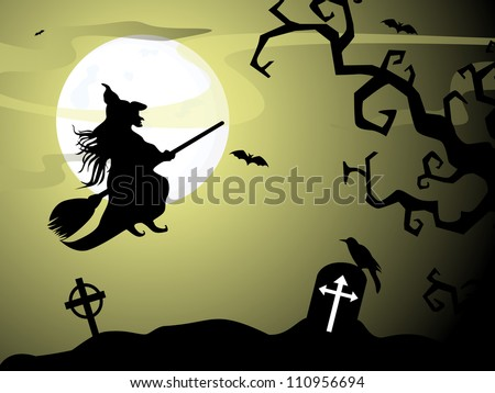 Halloween witch flying on broomstick, scary Halloween background. EPS 10. - stock vector
