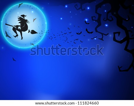 Halloween witch flying on broomstick, scary Halloween full moon night background. EPS 10. - stock vector