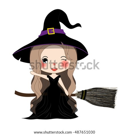 halloween witch flying with broom and hat beautiful young woman on boomstick vector illustration - Flying Halloween Witch