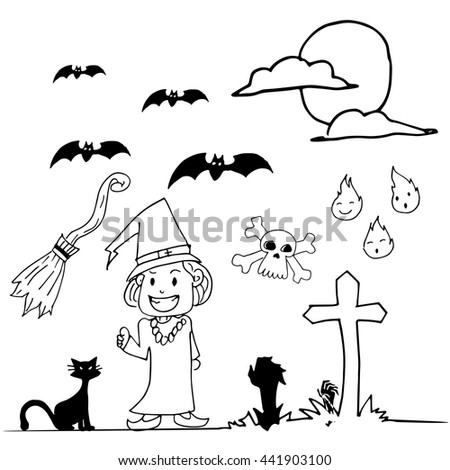 halloween witch hand draw doodle on stock vector 441903100