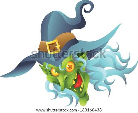 halloween witch head - stock vector