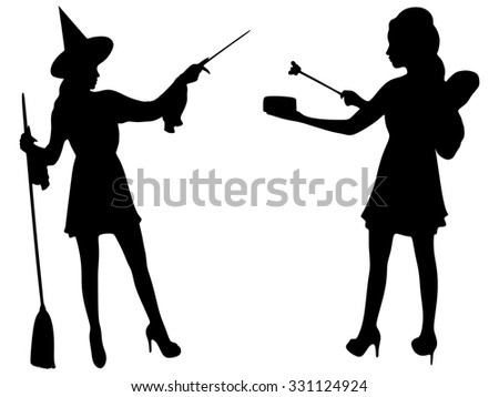 Halloween Witch holding magical wand  and dreamy fairy girl