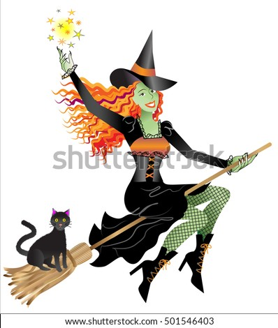 Halloween witch on a broom with her black cat testing her sorceress skills