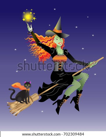 Halloween witch on a broom with her cat flying through the night sky