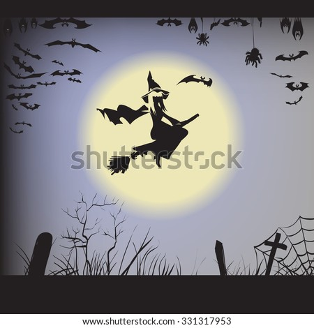 Halloween witch on a broomstick flying, silhouette, vector illustration of a bat, spider, web, graves, bat hanging upside down in flight, label printing and office decoration, crafts, pattern cutting