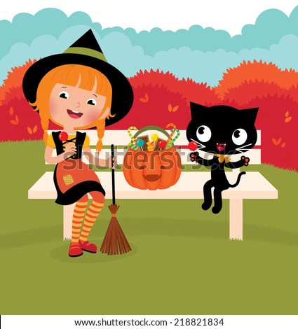 Halloween witch sitting on a bench outdoors/Girl witch with her ??cat celebrate Halloween/Illustration Halloween witch and her black cat - stock vector