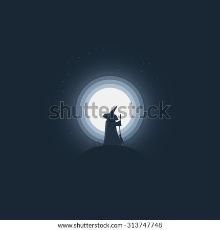 Halloween witch standing in front of full moon. Holiday card template minimalistic artistic cartoon style. Eps10 vector illustration. - stock vector