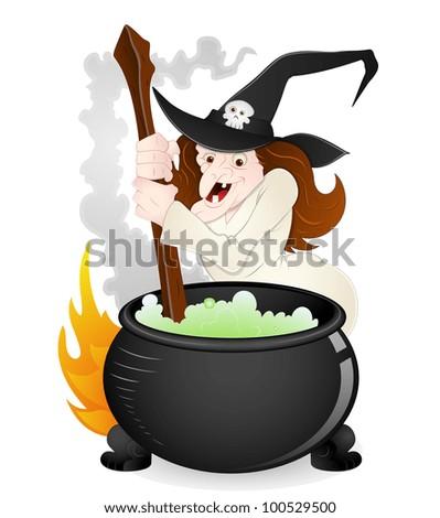 Halloween Witch Vector - stock vector