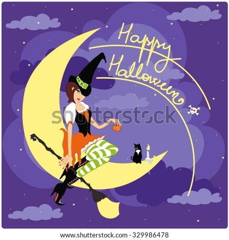 Halloween witch with cat on the moon holding a broom and a little pumpkin wishing happy halloween - stock vector