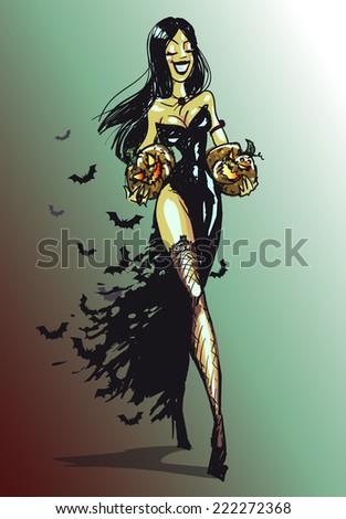 Halloween witch with pumpkin walking.  - stock vector
