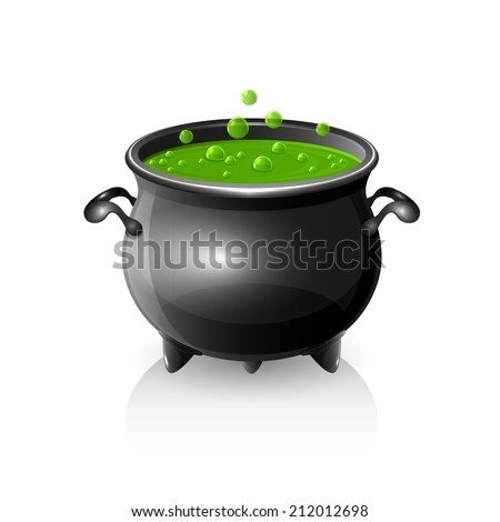 Halloween witches cauldron with green potion, illustration. - stock vector