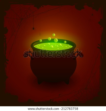 Halloween witches cauldron with green potion on dark background, illustration. - stock vector