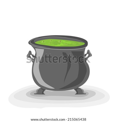 Halloween witches cauldron with green potion on white background, illustration. - stock vector