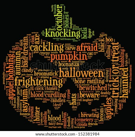 Halloween word cloud vector in shape of a orange pumpkin on black background with words related to halloween - witch, trick or treat, candy, pumpkin, halloween, knocking and similar