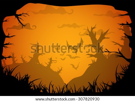 Halloween yellow spooky a4 frame border with death trees and bats. Vector background with place for text - stock vector