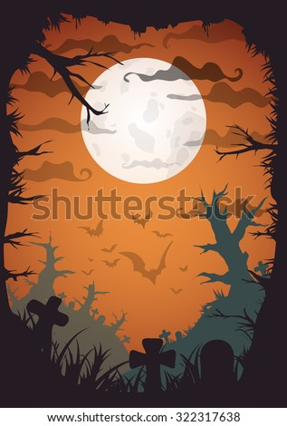 Halloween yellow spooky a4 frame border with moon, death trees and bats. Vector background with place for text - stock vector