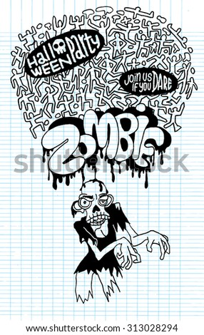 Halloween Zombie Party invitation Poster. suitable for Halloween. Vector Illustration Design Elements on Lined Sketchbook Paper Background