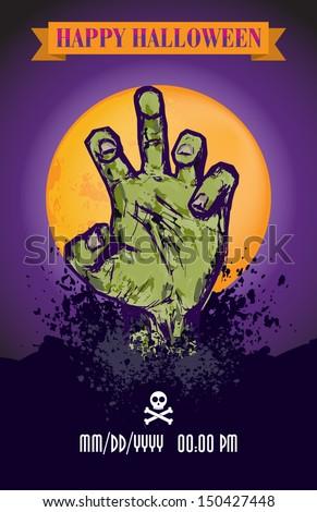 Halloween Zombie Poster - stock vector